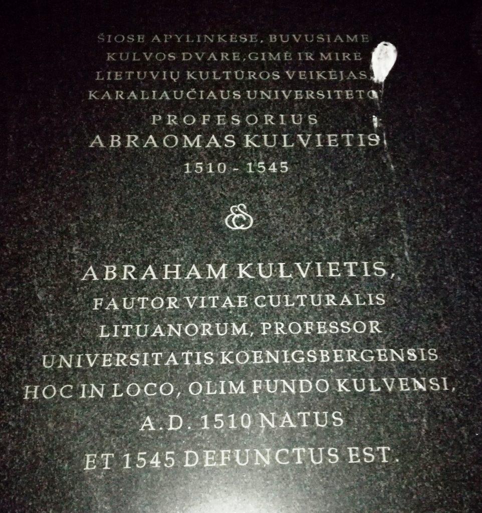 A. Kulviečio antkapinis užrašas